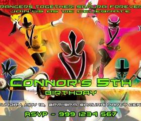 Power Rangers Samurai Birthday Invitation Digital File